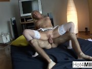 MILF in white lingerie gets fucked in the ass