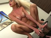 shemale dick hard with a dildo up her