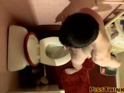 Devin Reynolds grabs his cock and unloads in the toilet