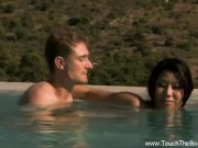 Asian MILF Uses Oil To Massage Him