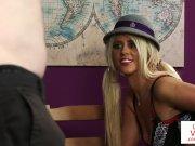 British schoolgirl voyeur teases jerking sub