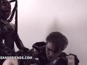 Shemale Mistress Bruna Venchy dominate young slave and fuck him hard