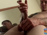 Tattooed twink Max Ward solo masturbating his big cock