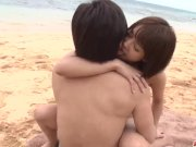 Saya Tachibana sex at the beach with a younge - More at Japanesemamas com
