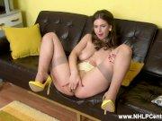 Natural big tits brunette Stella Cox finger fucks in sheer nylons and heels