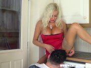 Bored blonde housewife slut lets Repair Boy Hunk lick and spunk up wet cunt
