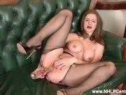 Brunette babe Stella Cox big natural tits fucks big toy in nylon pantyhose