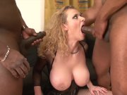 Milf fucked hard by two black guys in her ass and pussy