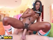 BANGBROS - Ebony Video Gamer Chick Sucks Dick And Fucks While Distracted