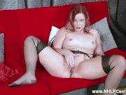 Redhead babe Anna Belle peels off black lingerie JOI wanks in nylon garters