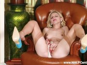 Blonde Chloe Toy strips off white lace panties and wanks in sheer nylons