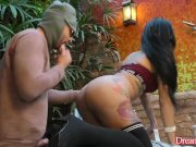Sultry Tranny Nicolly Pantoja Catches a Peeping Tom and Makes Him Blow Her