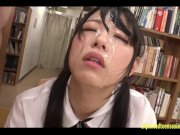 Jav Aoi Rena Gets Multiple Bukkake Face While Being Fucked In The Library W
