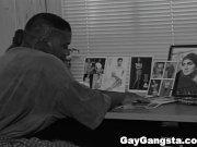 Horny black gays enjoy hardcore bareback fuck.