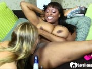 Interracial lesbians have some fun with each other