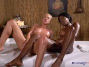 Massage Rooms Cristal Caitlin and ebony beauty Boni share gasping orgasms