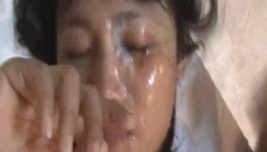 Bubble Butt Asian Gets A Massive Facial After