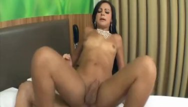 Delicious Latina shemale rudely nailed