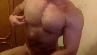 Gym twink jerking his cock