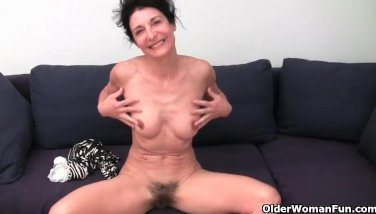 Granny has a wet spot in her panties