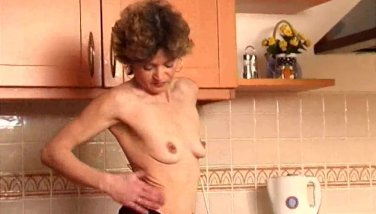 Old woman dildoing hairy pussy
