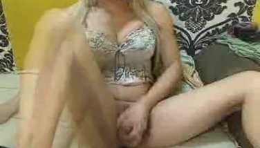 Blonde Shemale Stroking Her Hard Cock