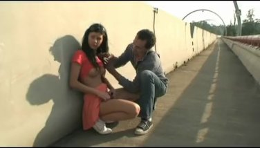 skinny Brunette gets cock in public place