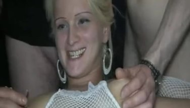 Insatiable blond MILF fisted by a gang of men