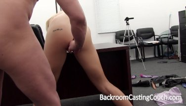 Tall Blonde Painful Anal and Creampie Casting