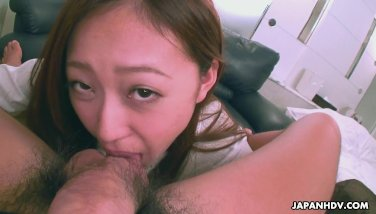 Cute Asian smelling the dick she teases real