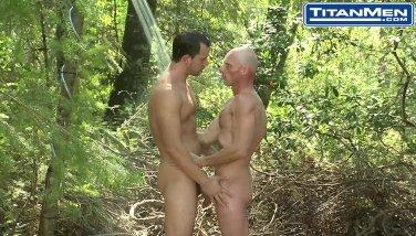 Passed hairy naked blonde men camping