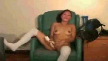 Asian amateur with white stockings toy fuckin