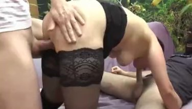 Gang bang for milf brunette slut