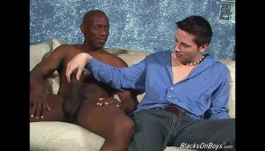 White guy sucking black cock like a champ