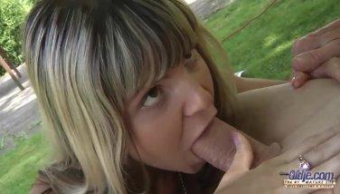 Teenie schoolgirl swallowing cum outdoor doggy fucking old cock