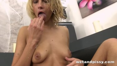 image Karina grand tastes and rolls around in her own pee