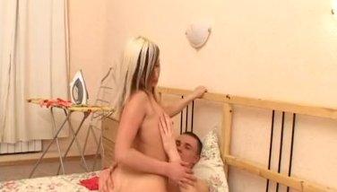 Stunning blonde teen pummeled