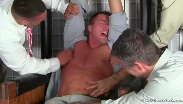 Hot fit business men having tickle time