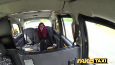 Fake Taxi Fetish Queen in black leather gets anal creampie