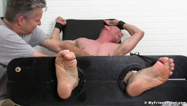 Fit dude Grayson tickled hard by friends