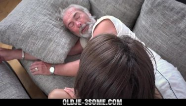 Old Young Threesome Sharing his cock and cum swallowing after fucking