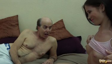 Ugly Grandpa vs Beautiful Young Girls in hardcore threesome fuck and suck