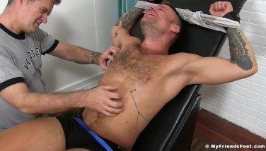 Inked hunk Hoytt Walker gets bound and endures a tickling