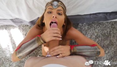 Tiny4k Halloween fuck and creampie with wonder woman Adriana Chechik
