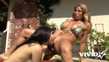 Massive Titty MILF has lesbo fun outdoors