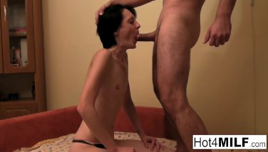 European MILF with small tits is ready for fucking