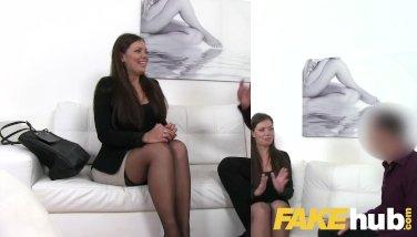 Fake Agent Smartly dressed brunette sucks and fucks casting agent on sofa
