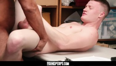 YoungPerps - Tall blonde straight boy barebacked by older horny security