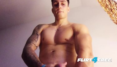 Flirt4Free Rick Noe - Buff Latino Hunk Jerks Off His Big Uncut Cock