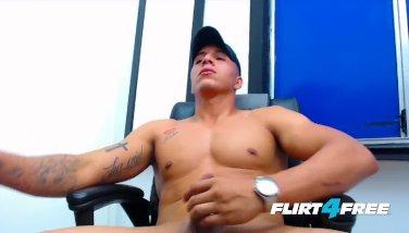 Flirt4Free - Felipe Borja - Latino's Monster Cock Shoots a Big Load